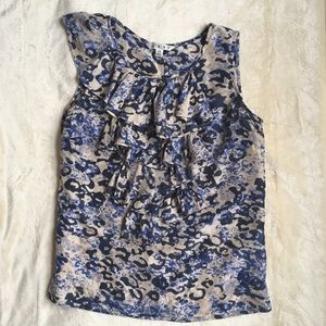 CAbi 100% Silk Patterned Ruffle Tank Blouse